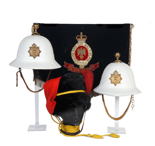 A RHA Trooper's Busby two Royal Marines Tropical Pattern Dress Helmets a Blues & Royals Music Stand Drape