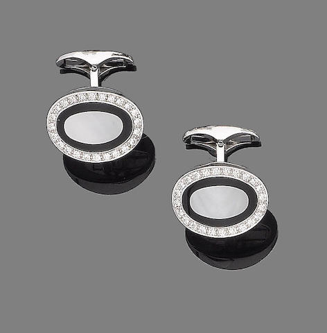 A pair of mother-of-pearl, onyx and diamond cufflinks, by Asprey