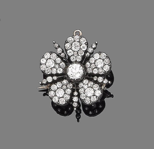A late 19th century diamond flower brooch/pendant
