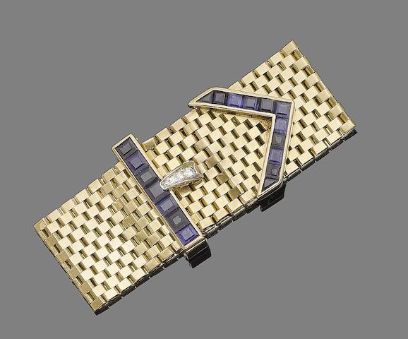 A sapphire and diamond jarretière bracelet