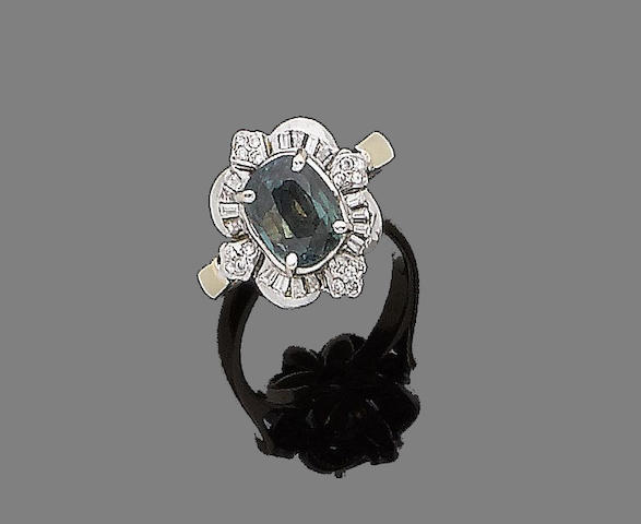 An alexandrite and diamond cluster ring