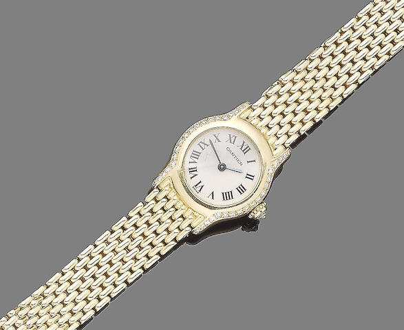 A diamond-set wristwatch, by Cartier
