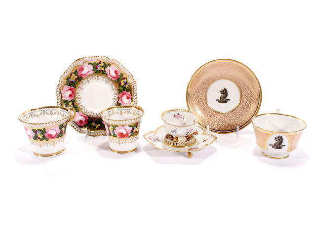 A Flight, Barr and Barr teacup and saucer, a Chamberlain ? trio and a Regency (FBB?) salt and stand, circa 1820-30