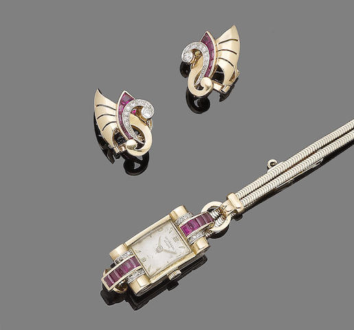 A gem-set cocktail wristwatch and a pair of earclips, (2)
