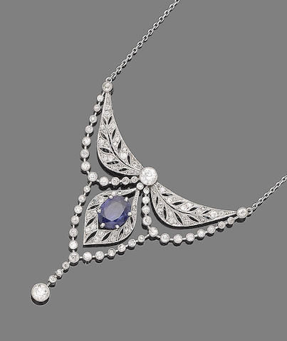 A belle époque sapphire and diamond necklace,
