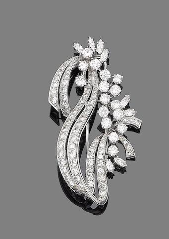 A diamond spray brooch