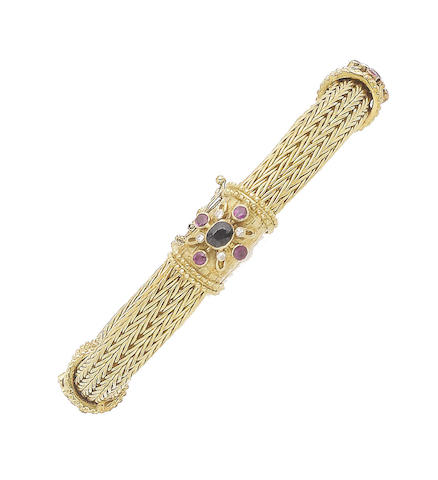 A sapphire, ruby and diamond bracelet, by Lalaounis