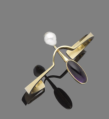 A cultured pearl and amethyst bangle, by Demaret
