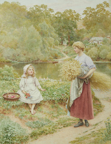Henry James: A young woman holding a wheatsheaf, a girl beside her