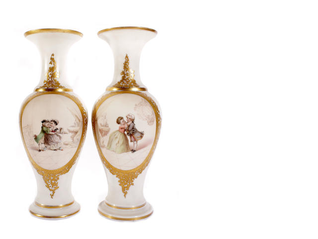 A pair of French opaline glass vases, late 19th century
