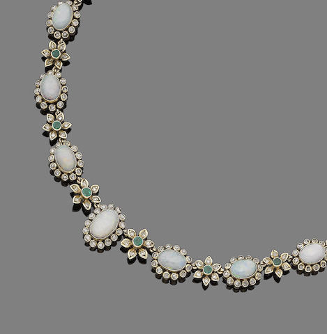 An opal, emerald and diamond necklace