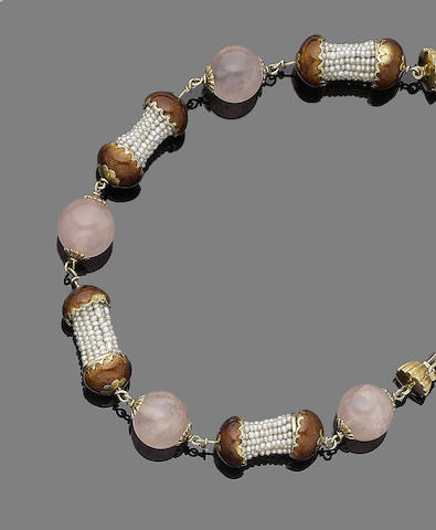 An enamel, quartz and seed pearl bracelet