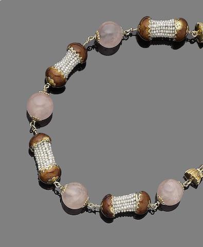 An enamel, quartz and seed pearl bracelet