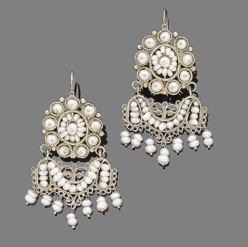 A pair of cultured pearl pendent earrings