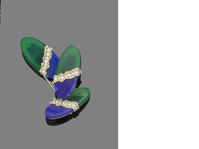 A chrysoprase, lapis lazuli and diamond brooch