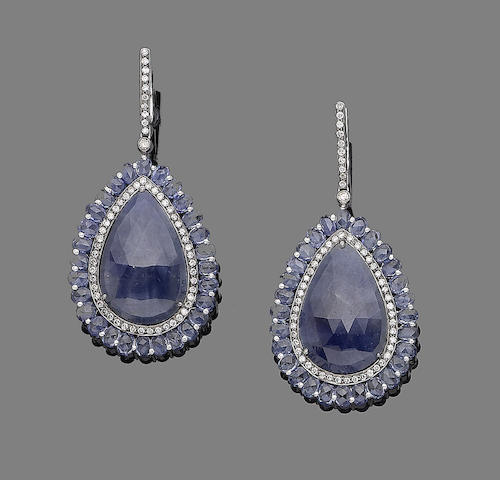 A pair of sapphire and diamond pendent earrings
