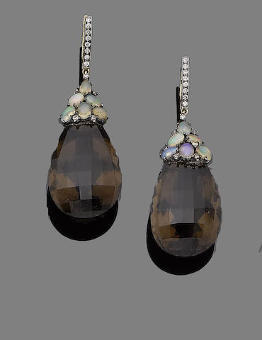 A pair of smoky quartz, opal and diamond pendent earrings