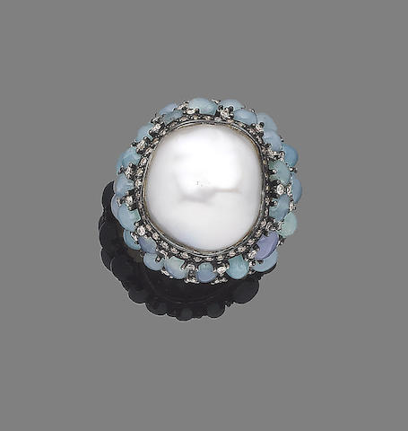 An opal, cultured pearl and diamond dress ring