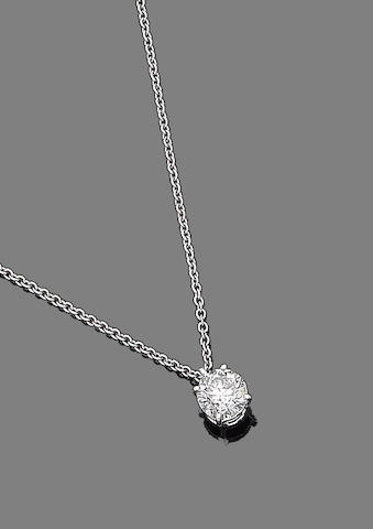 A diamond single-stone pendant necklace
