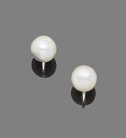 A pair of natural pearl earrings