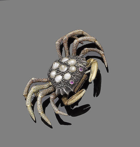 A pearl and ruby crab brooch, by Buccellati