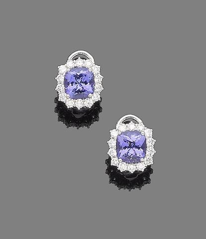 A pair of tanzanite and diamond earrings
