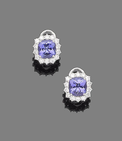 A pair of tanzanite and diamond earrings