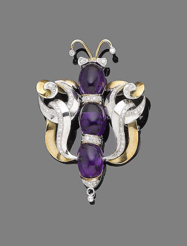 An amethyst and diamond brooch