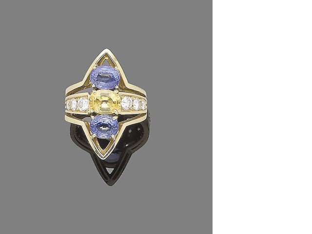 A sapphire, yellow sapphire and diamond dress ring