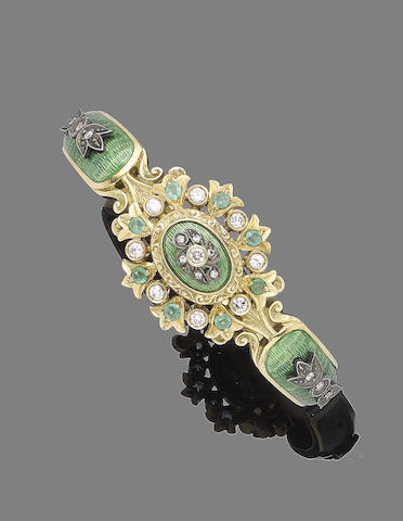 An enamel, emerald and diamond hinged bangle
