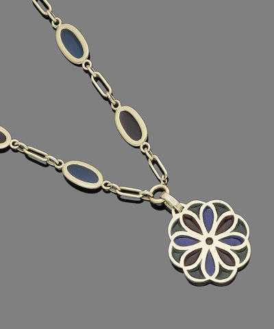 A plique-à-jour enamel pendant necklace