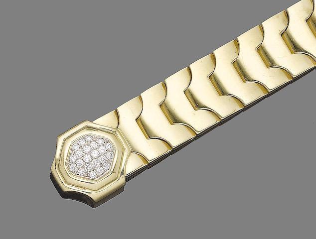 A lapis lazuli and diamond fancy-link bracelet