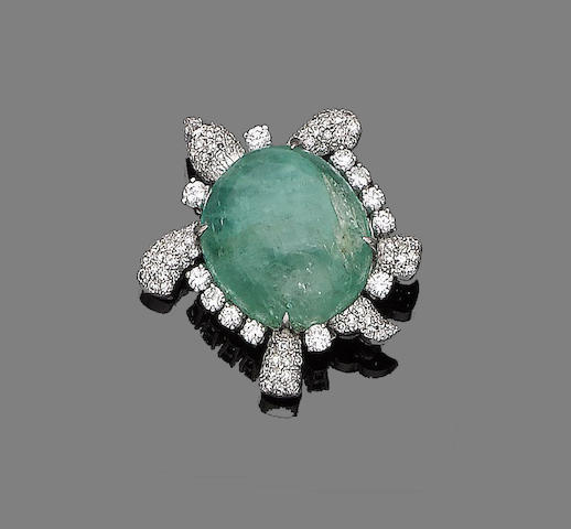 An emerald, ruby  and diamond turtle brooch