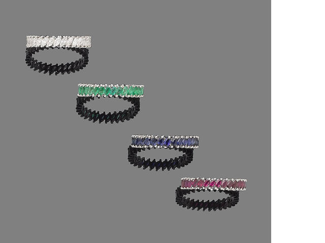 Four diamond, emerald, ruby and sapphire eternity rings (4)