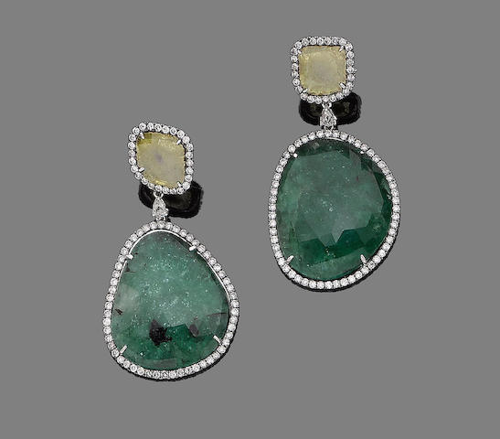 A pair of emerald, yellow sapphire and diamond pendent earrings
