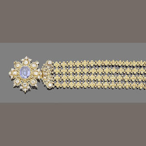 A gold cannetille, sapphire and diamond bracelet,