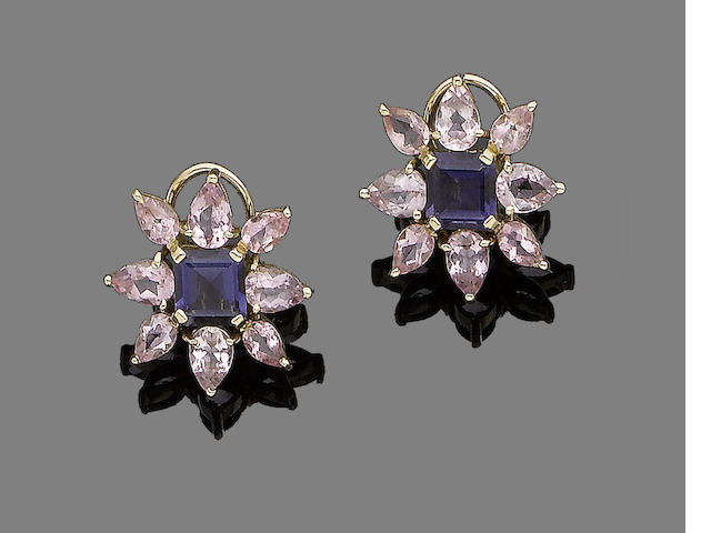 A pair of iolite and tourmaline flower earrings,