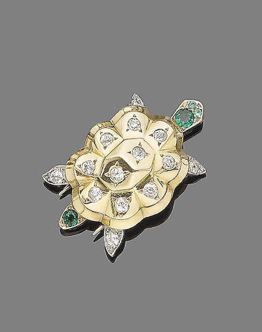 An emerald and diamond turtle brooch