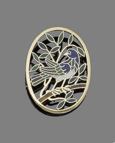 A plique-à-jour enamel bird brooch