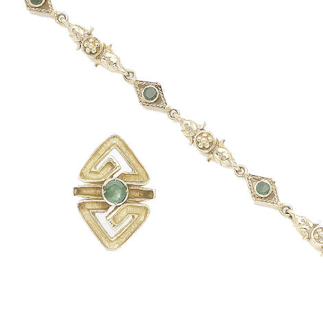 An emerald ring and bracelet suite, by Lalaounis (2)