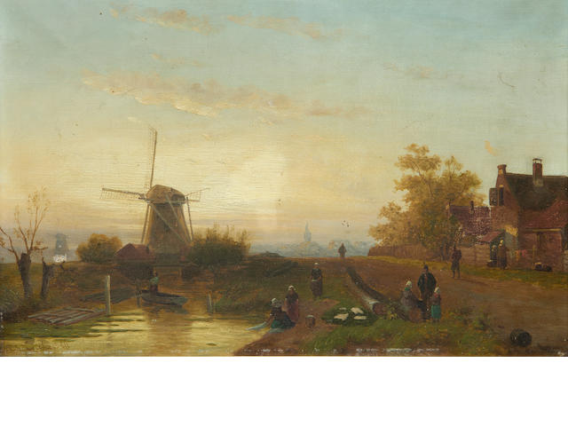 Charles Leickert, Figures alond a canal, oil on canvas, signed
