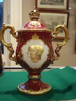 A Coalport coronation twin handled cup and cover 1937