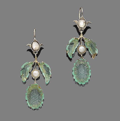A pair of pearl, emerald, and diamond pendant earrings