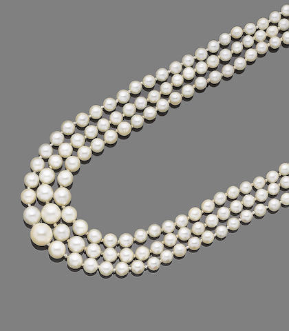 A three-row cultured pearl and diamond necklace,