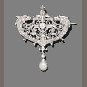 A pearl and diamond brooch,