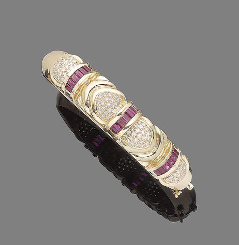 A ruby, synthetic ruby and diamond hinged bangle