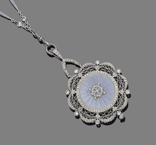 A belle époque enamel and diamond watch pendant necklace,