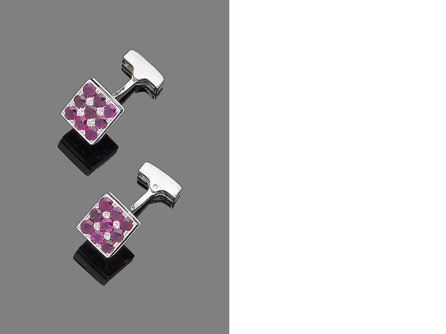 A pair of ruby cufflinks
