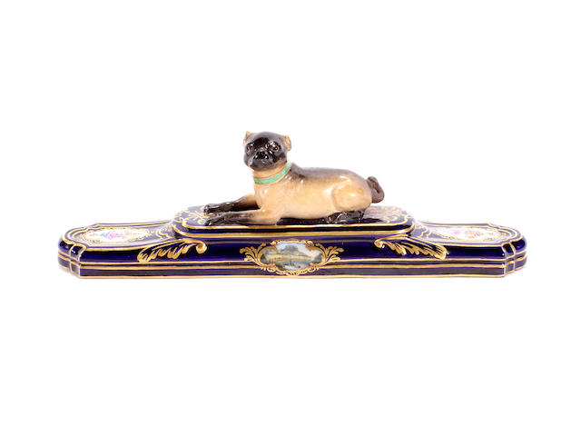A Meissen model of a pug, late 19th century