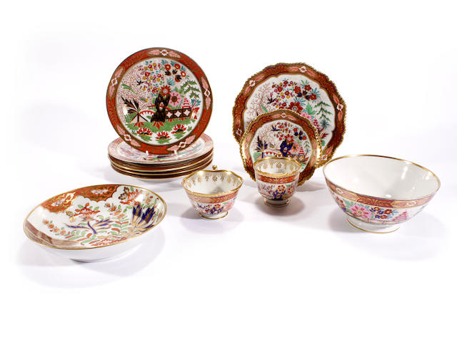 A Flight, Barr and Barr trio and a dessert plate, a set of four Flight, Barr and Barr dessert plates and a matching slop bowl, a similar pair of Barr, Flight and Barr plates and a Chamberlain saucer dish, circa 1810-30